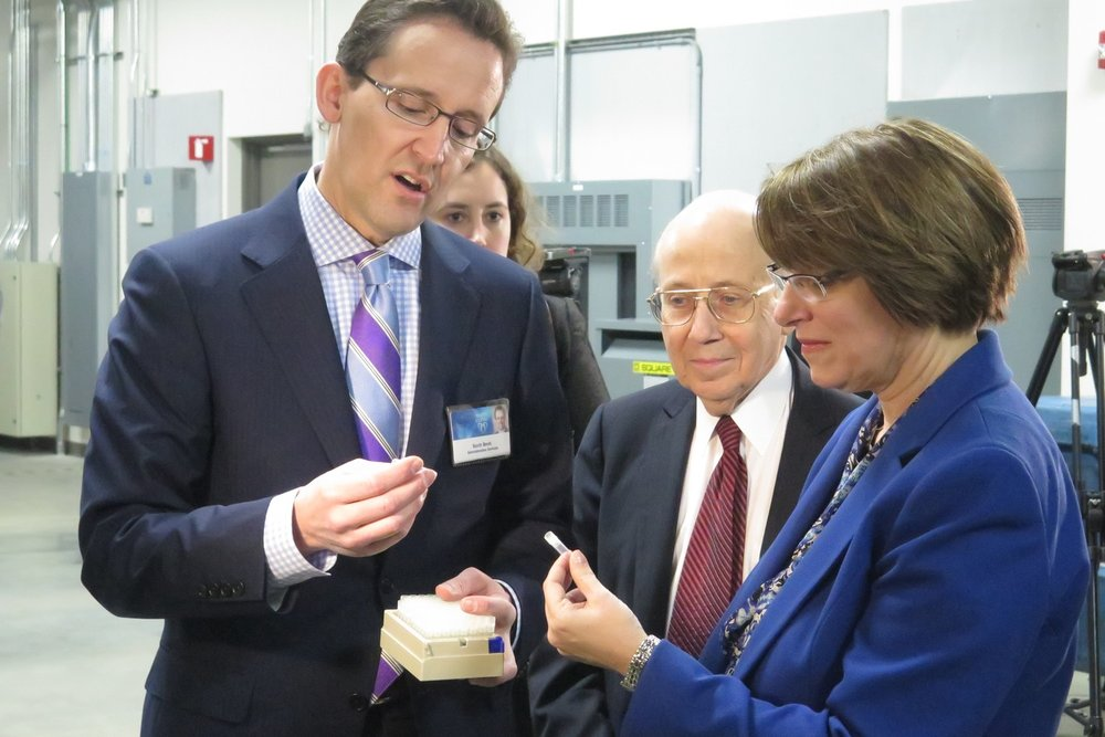 Photo: U.S. Sen. Amy Klobuchar in 2015 touring Mayo Cinic's  biorepository facility in support of Pres. Obama's Precision Medicine Initiative / Med City Beat