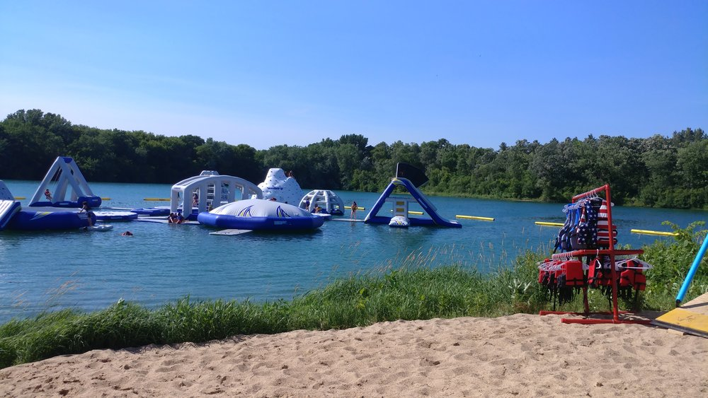 An inflatable water park has been set up for the summer at Foster Arend