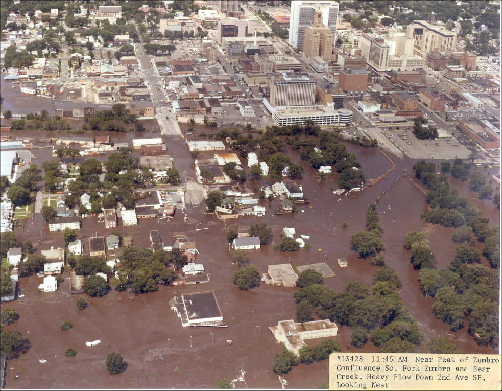 Downtown Rochester during the flood of 1978 / Courtesy National Weather Service