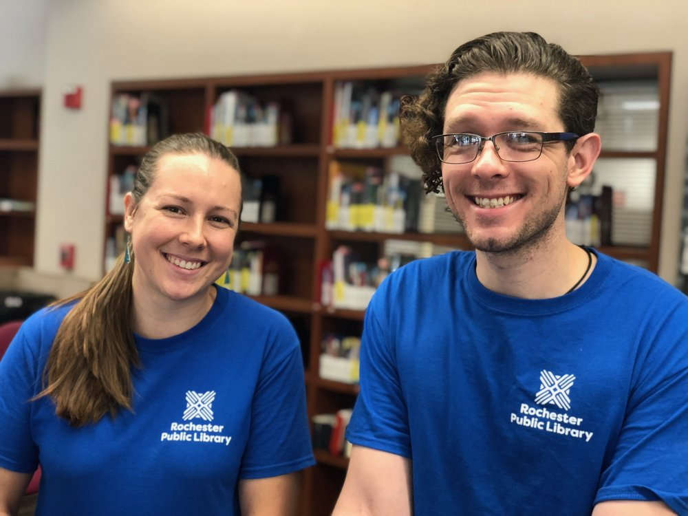 Left to right: Library employees Lauren Hughes and Isaiah Pacey