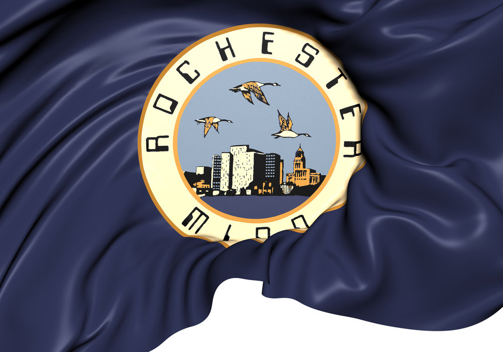 Rochester's current flag, first introduced in 1980