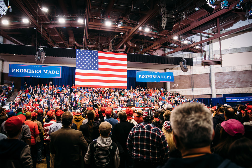 Approximately 8,500 people came out to hear the president speak.