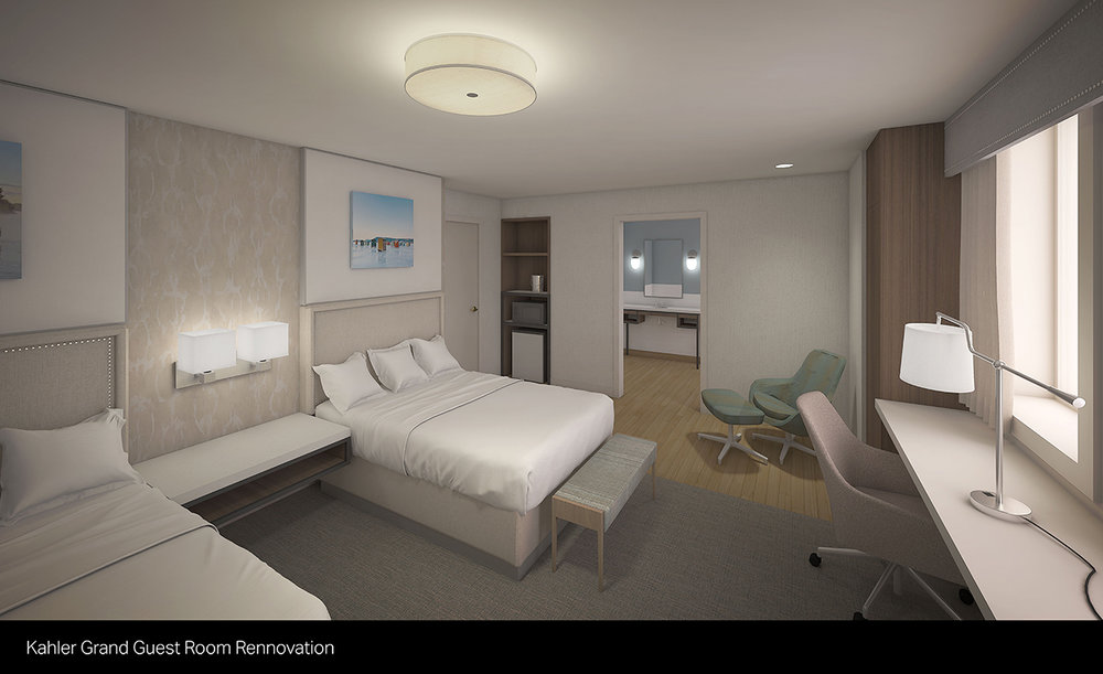 Rendering shows what a typical guest room will look like following the renovation project.