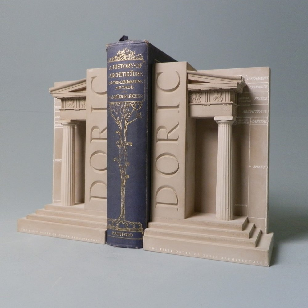 Doric Order Bookend Set £60 / RRP £150 (height 23cm) The First Order of Greek Architecture. DORIC – The bookend illustrates all the classical features of the Greek Order. The detail is taken directly from the Parthenon, Athens BC447/43.