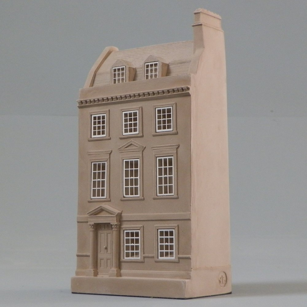 Designed by Thomas Jelly When – 1762 Where – Bath, England This detailed scale Timothy Richards house model made famous by its association to Jane Austen, her home and her life in Bath would make a beautiful decorative piece for display in any office, upon mantelpiece or bookshelf next to the complete works of the much loved author. This typical Bath terrace is Palladian in its origins consisting of three storeys with an attic above. As with many Georgian houses it contains a fireplace in most rooms and represent the best of 18th century living. Jane Austen's uncle lived in The Paragon and Jane would have visited regularly.