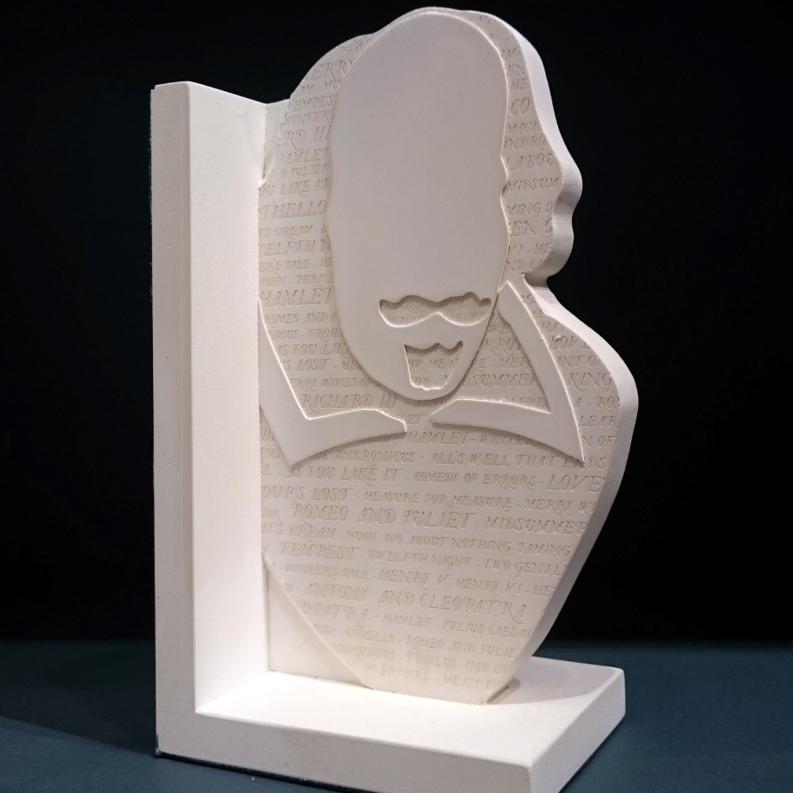 Single Shakespeare bookend. Inscribed on one side with the titles of the great playwright's work. The other side features Shakespeare's signature.