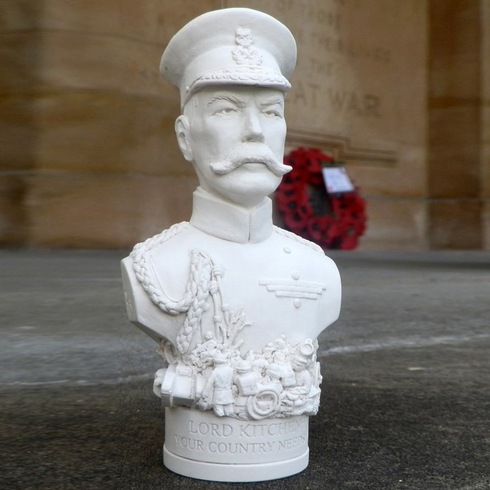 "Lord Kitchener's army of volunteers boosted the British Army in the First World War from two hundred thousand to approximately two million men. The poster campaign remains an iconic symbol of the Great War, 'The war to end all wars.' 1914-1918. The Bust Sculpted at our studios in Bath, inspiration was drawn from the poster and photographs of the time. Around the base The objects featured around the base include a WWI tank, gas mask, shells, spade, helmets, a Howitzer and British Tommies going 'over the top'. The etch around the base, taken from the famous poster, reads - ""YOUR COUNTRY NEEDS YOU""."