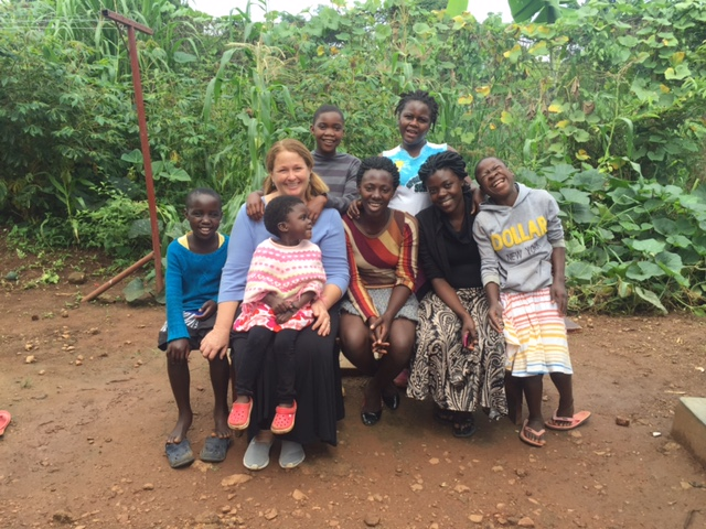 Kathleen with the girls of the Bulamu House