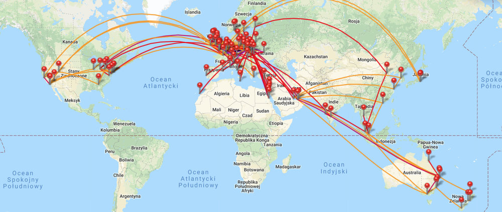 All my flights as of September 2018.