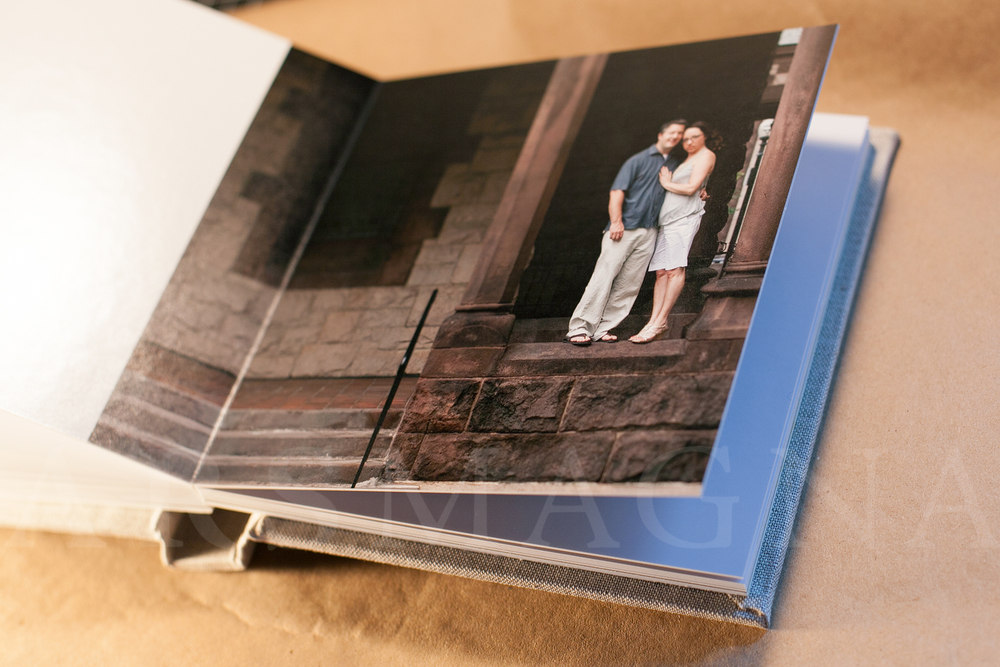guestbook with images from engagement portrait shoot