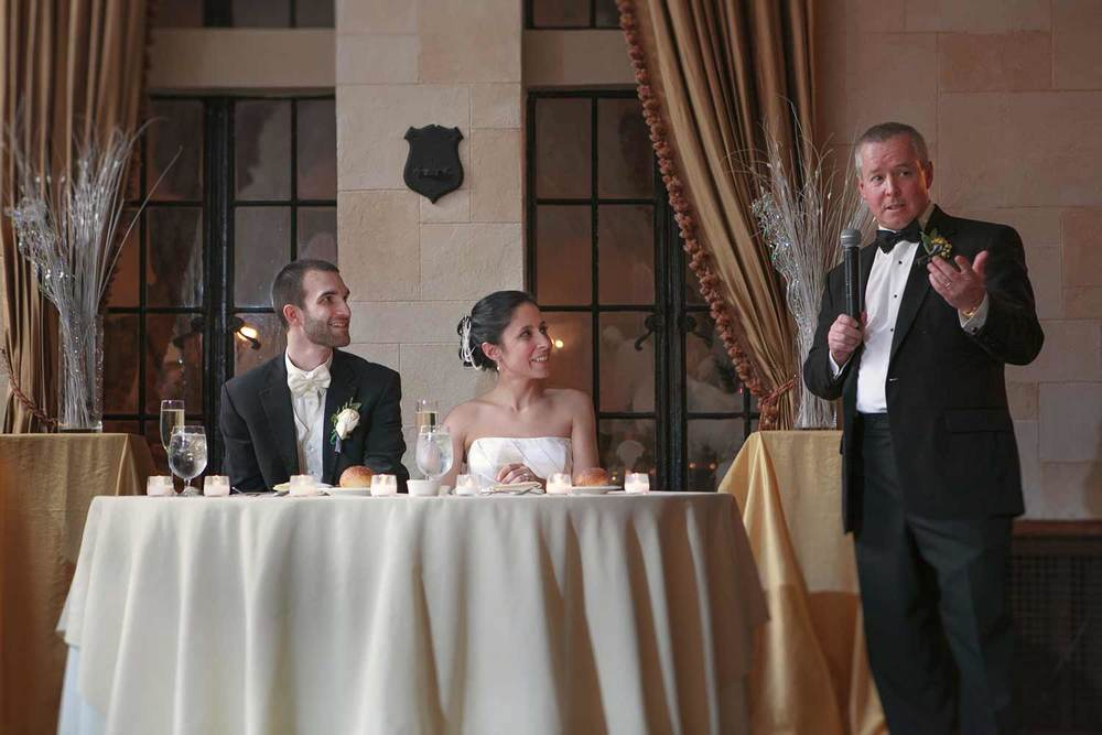 father of the bride welcoming guests at Alden Castle in Brookline