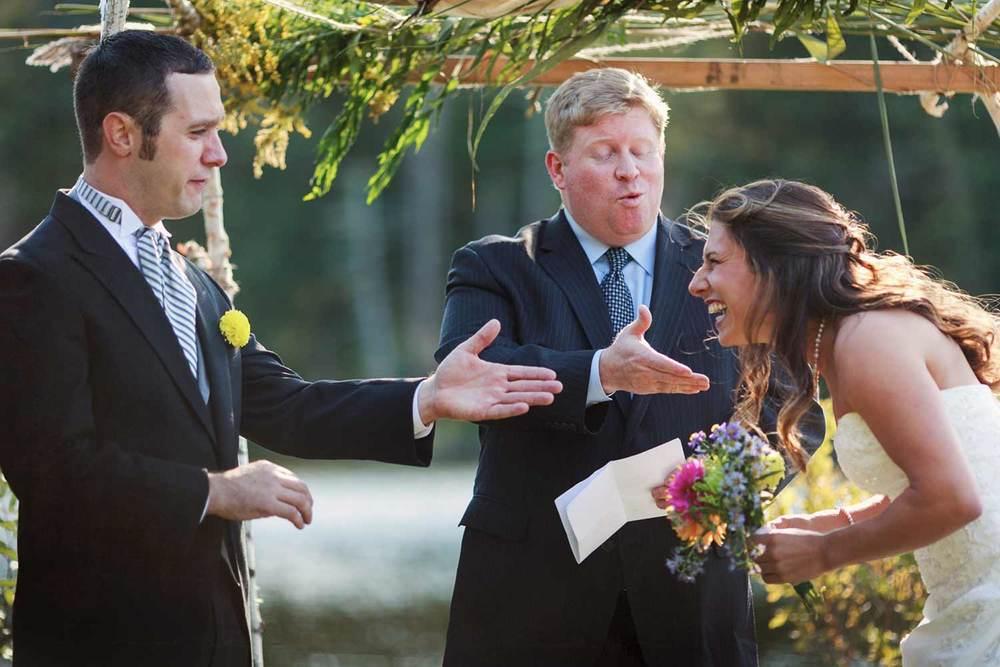 wedding ceremony giggles at Camp Kinderhook