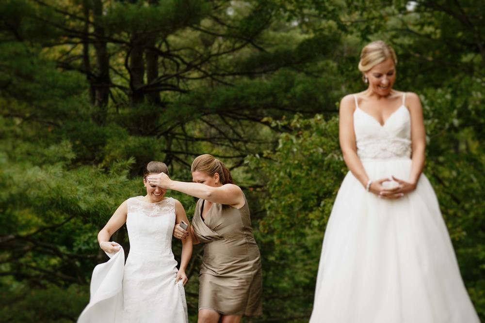 moments before the first look, camp wedding in Fairlee Vermont