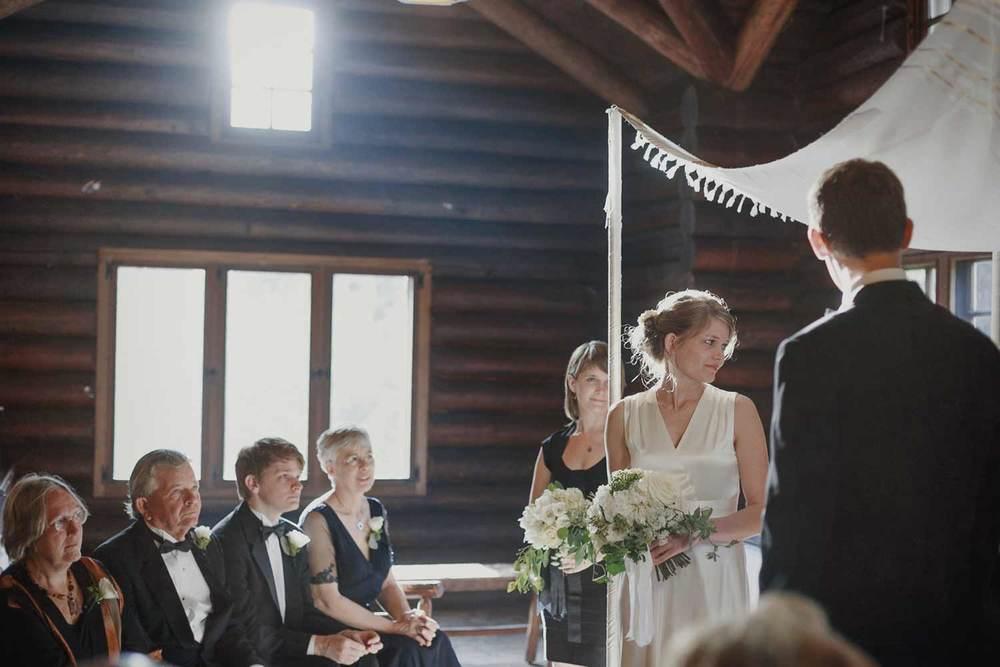 indoor ceremony in log cabin in Andover Massachusetts