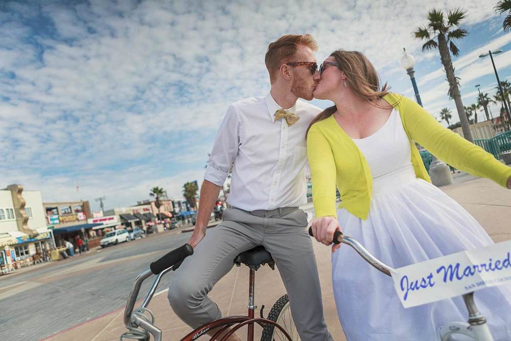day after wedding portrait session on the San Diego's Mission Beach