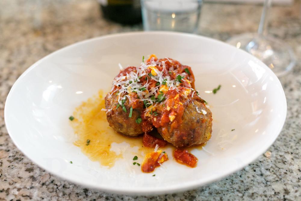 meatballs, tomato sauce and ricotta salata