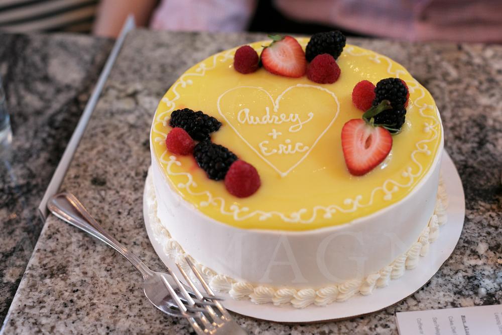Lemon and raspberry wedding cake from Flour
