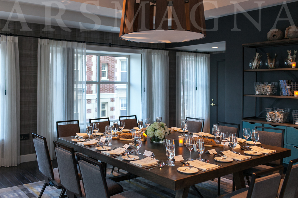 The Olmsted Room at the Hotel Commonwealth, set for the engagement dinner party