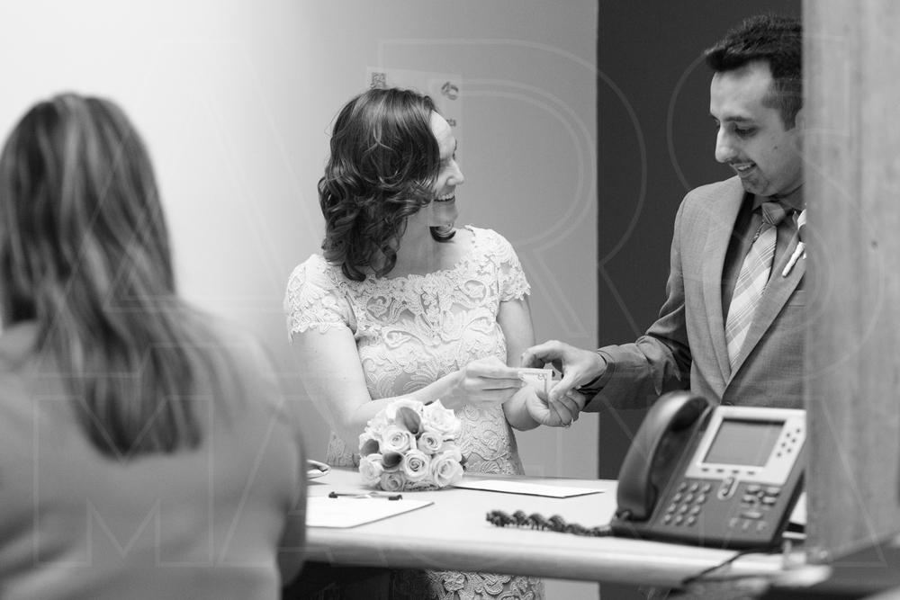 Boston City Hall marriage license on wedding day
