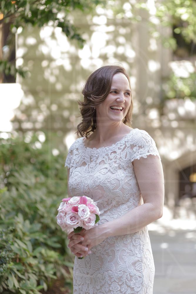 boston wedding bride in lace pink bouquet