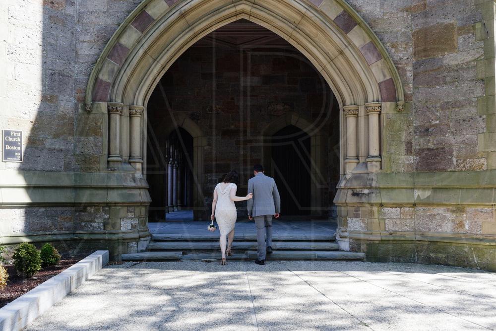 Boston back bay wedding portrait church