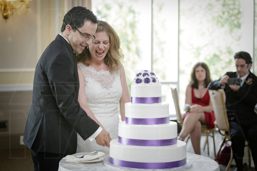 purple tiered wedding cake oakley country club