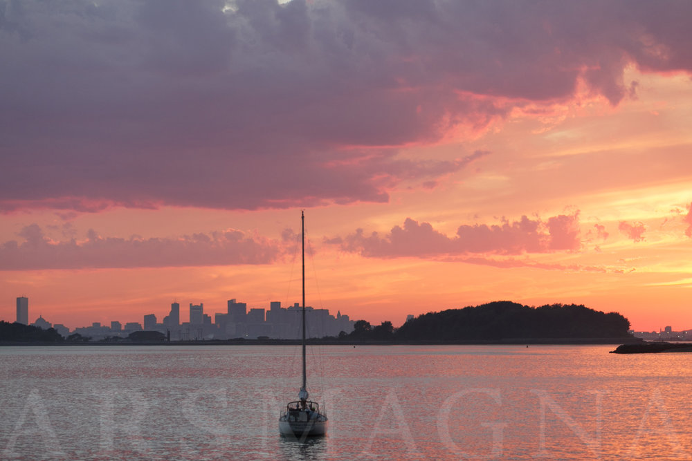 a beautiful place to watch the sunset, over Boston's skyline
