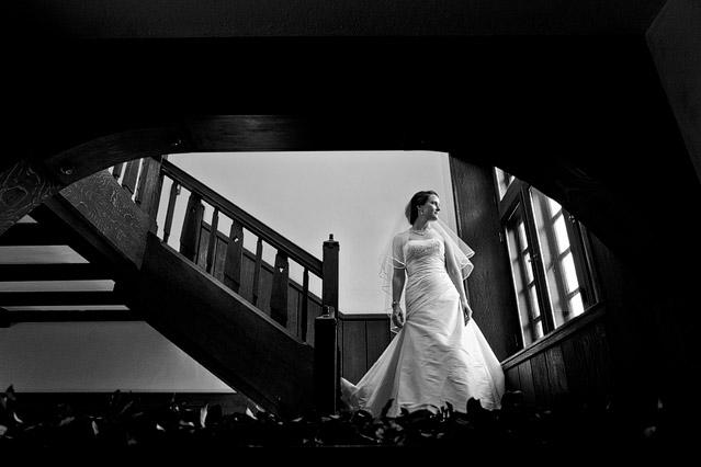winter wedding willowdale estate bridal portrait staircase