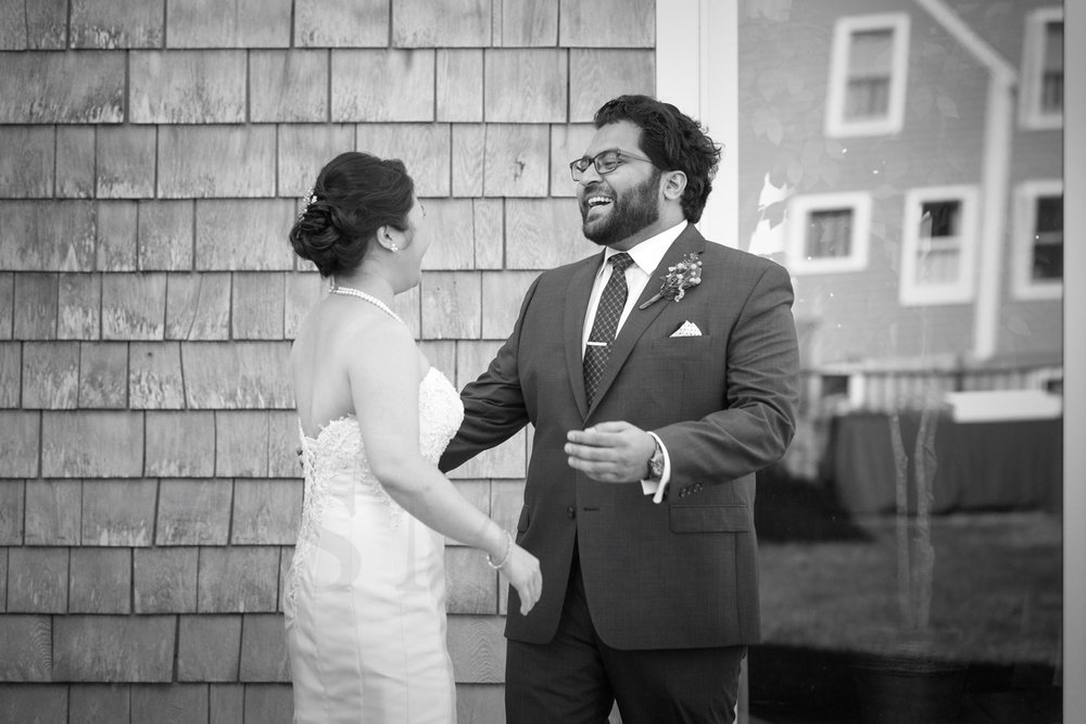 First Look Rockport wedding photographer Shalin Liu Performance Center