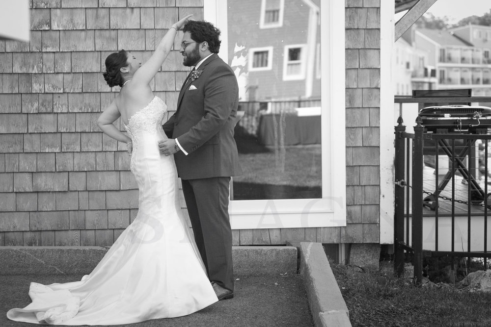 First Look Rockport wedding pictures Shalin Liu Performance Center