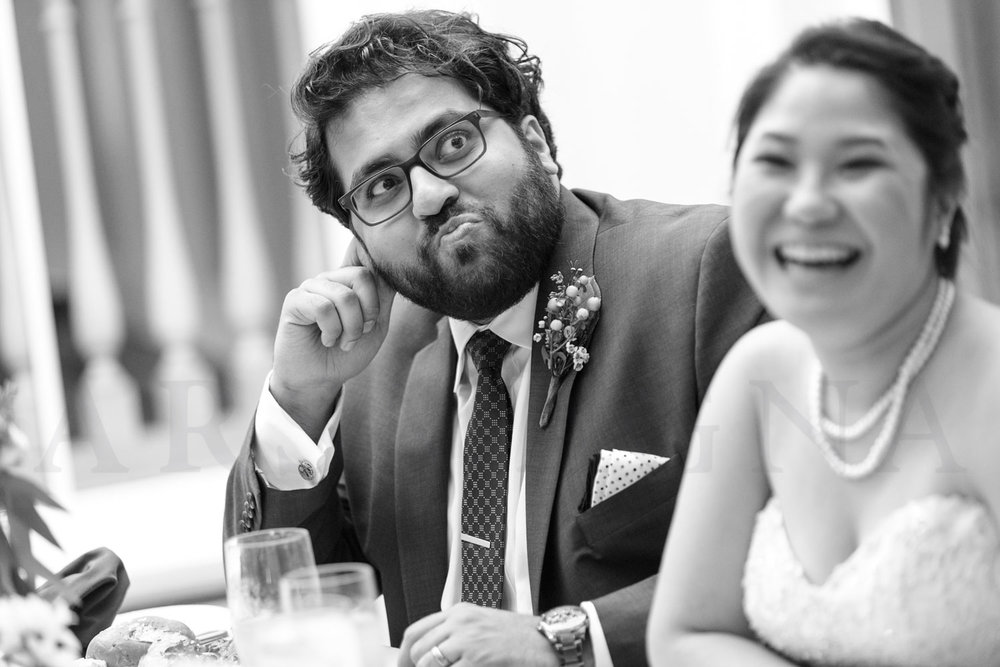 shalin liu wedding reception photography groom reaction during toas