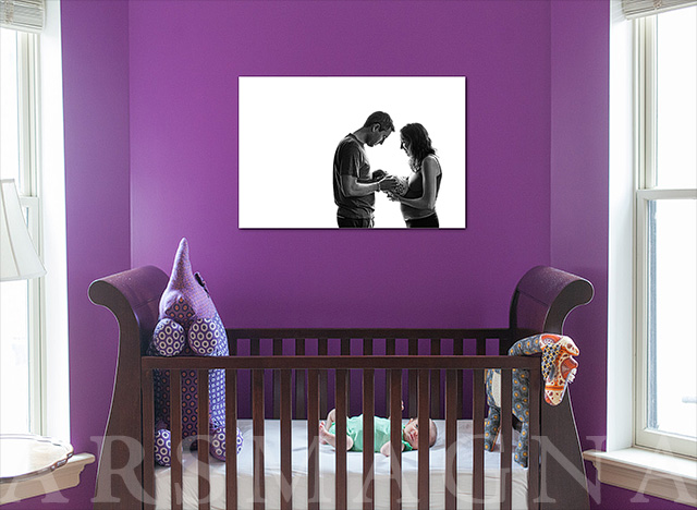 nursery wall portrait over crib boston family photographer allana taranto
