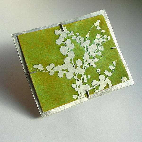 Blossom enamel and silver brooch
