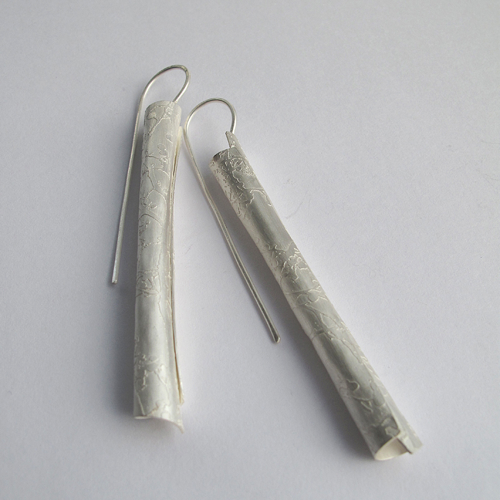 Etched rolled silver drop earrings
