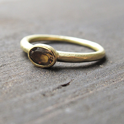 Smoky quartz and 18ct gold, organic eternity ring.