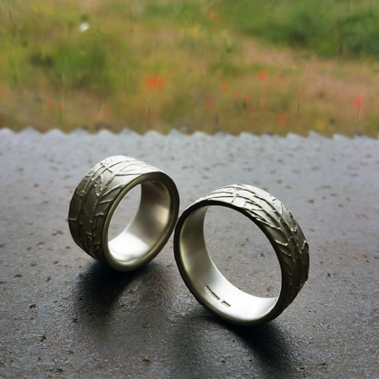 Winter Rings. Silver rings etched with a pattern inspired by a hedgerow in winter.