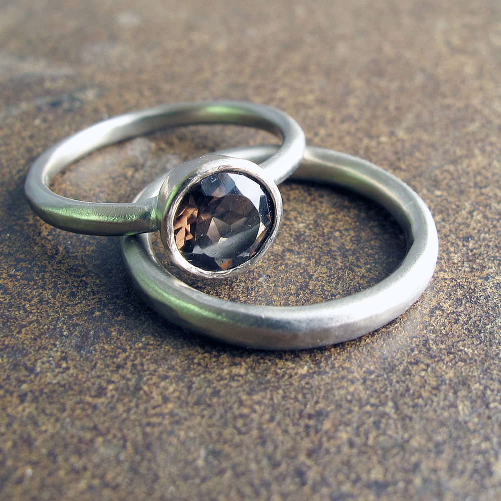 Engagement rings in 9ct white gold with smokey quartz.