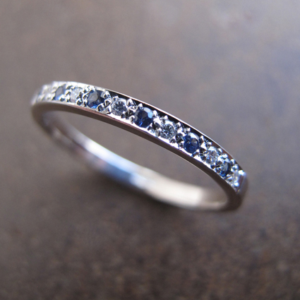 Sapphire and diamond pave set ring.