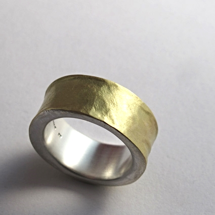 Melted 18ct gold and silver hammered ring.
