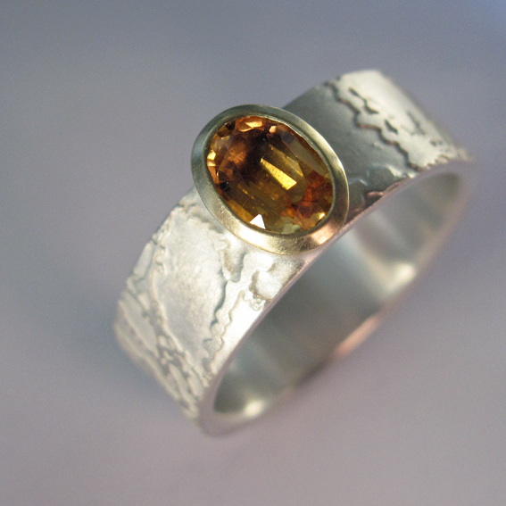 citrine etched ring with 9ct gold setting.