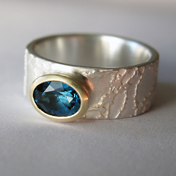 London blue topas etched ring with 9ct gold handmade ring