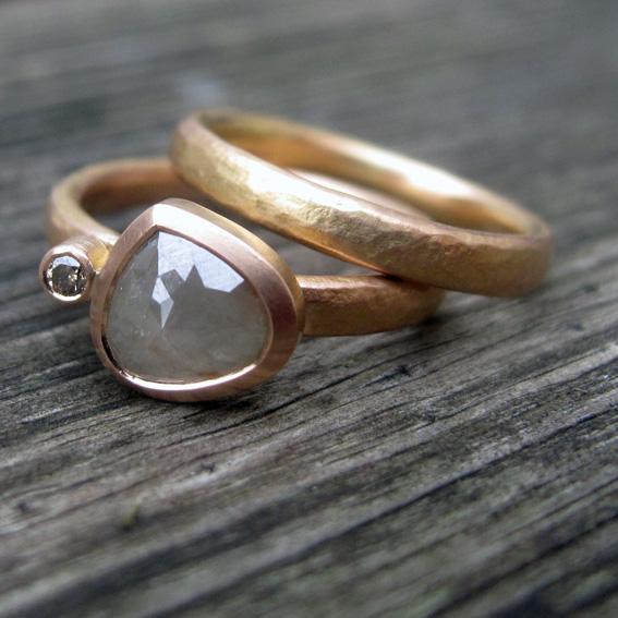 Natural and cognac diamonds, 18ct rose gold engagement and wedding ring.