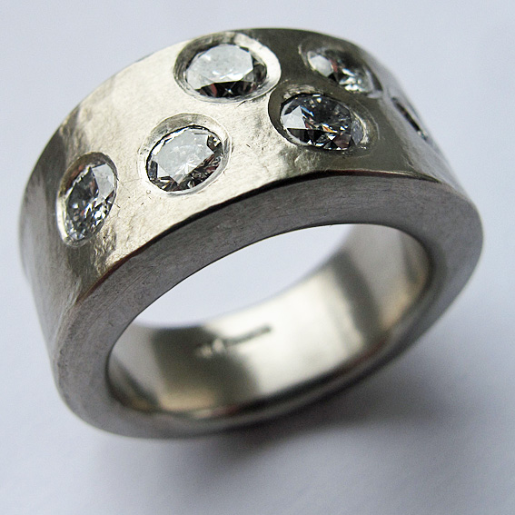 Textured, hammered palladium ring set with 6 diamonds