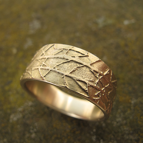 remelted wedding rings 18ct gold etched winter ring handmade in scotland.jpg