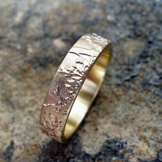 5mm width Meadow ring.  Etched 9ct yellow gold wedding or eternity ring.