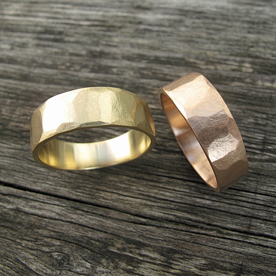 18ct yellow and 18ct rose gold faceted, textural wedding rings.