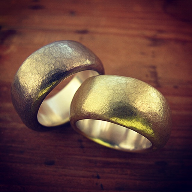 Fused gold and silver rings.
