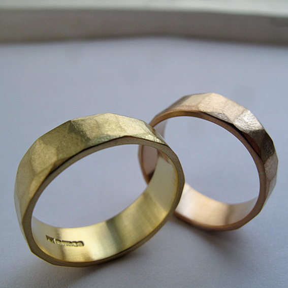 Faceted wedding rings.