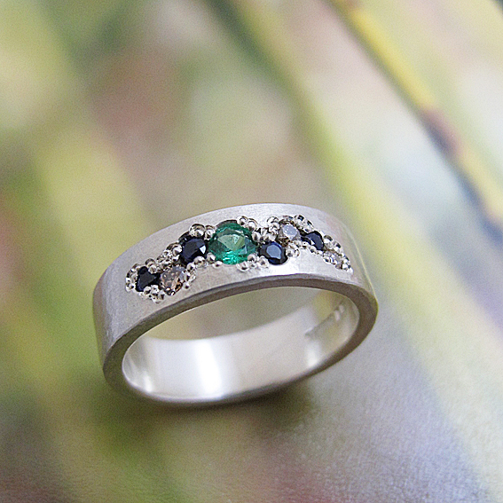 sapphire emerald diamond ring commission textural ring natural design pave set wedding ring.jpg