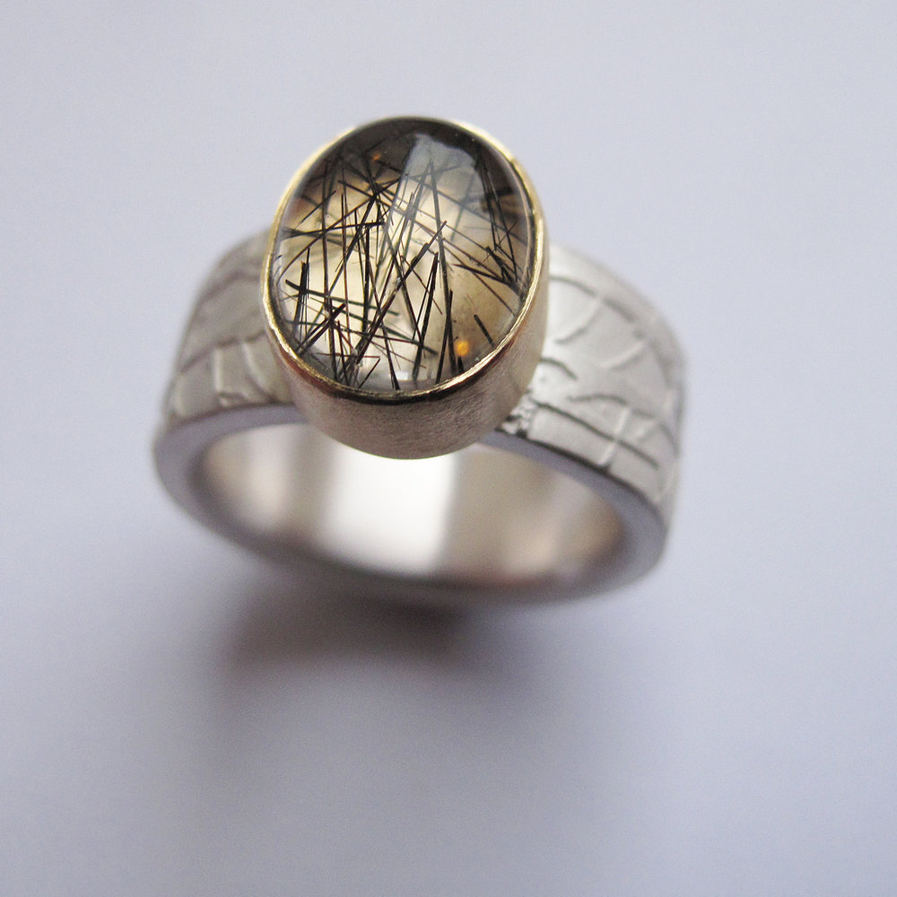 Toumalated quartz etched ethical ring bespoke commission.jpg